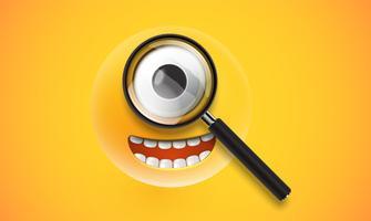 Émoticône détaillée haute jaune avec une loupe réaliste, illustration vectorielle