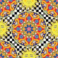 Fond clair sans soudure. Mandala d'ornement rond coloré ethnique, soleil avec symbole du visage humain sur le damier. Style branché. Illustration vectorielle