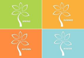 Ensemble vectoriel d'arbres saisonniers découpés