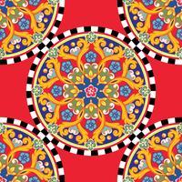 Sans soudure fond clair tendance. Mandala d'ornement rond coloré ethnique sur le damier. Illustration vectorielle