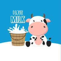 Vache mignonne avec seau de lait. Illustration vectorielle