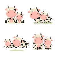 Caricature de vache mère et bébé. vecteur