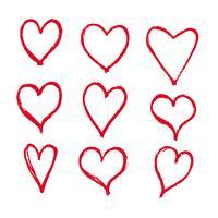 Icône de coeurs dessinés à la main vecteur