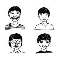 Les gens face icône main dessiner vecteur