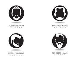 barbe masculine cheveux noirs logo geek et symbole vecteur