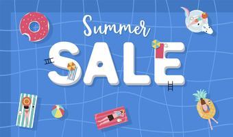 Fond de vente d'été avec des personnes minuscules, parapluies, ballon, flotter dans la piscine vue de dessus. Bannière d'été vecteur