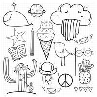 Doodle dessinés à la main Vector Set. Doodle Funny Set. Illustration vectorielle à la main.