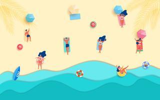 Vue de dessus des vagues de papier bleu de la mer et de la plage vecteur