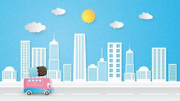 Paysage urbain fond vecteur papier coupé style avec camion de crème glacée, soleil et nuages.