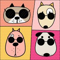 Hand Drawn Cute Dog Face Characters Set. Illustration vectorielle