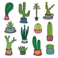 Ensemble de vecteurs Doodle Cactus dessinés à la main. Illustration vectorielle à la main.