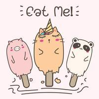 Crème glacée animale mignonne. Illustration vectorielle dessinés à la main.