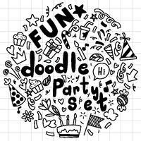 main, dessiné, joyeux anniversaire, ornements, fond, doodle, fête motif modèle, illustration vectorielle
