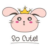 Petite princesse de lapin. Illustration vectorielle mignon lapin.