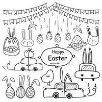 Joyeuses fêtes de Pâques. Ligne dessinés à la main Doodle Joyeuses Pâques ensemble. Voiture de Pâques, oeuf de Pâques et panier de Pâques. Illustration vectorielle à la main. vecteur