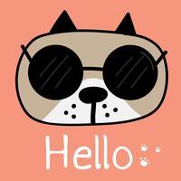 Chien mignon avec dire bonjour. Fond d'illustration vectorielle