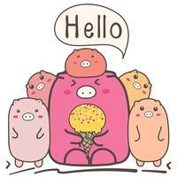 Famille de cochons mignons de dessin animé.
