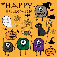 Illustration vectorielle de Halloween monstres dessinés à la main. vecteur
