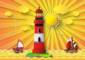 Phare d'illustration vectorielle avec paysage marin vecteur