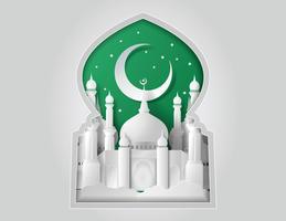 Vecteur de la mosquée de papier.