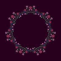 Cadre rond composé d'éléments floraux. Frontière de Mandala.