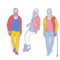 l'homme marche. illustrations de design vectoriel style dessinés à la main