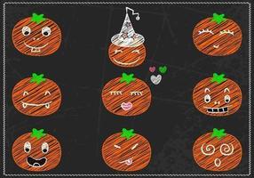 Ensemble vectoriel Jack-o-lantern dessiné à la craie