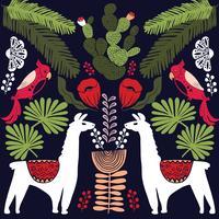 Illustration avec des plantes de lama et cactus. Modèle sans couture de vecteur sur fond botanique. Carte de voeux avec alpaga.