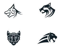 Mascotte de logo tête de tigre sur fond blanc vecteur