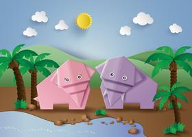 Origami fait éléphant. vecteur