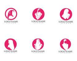 logo et silhouette de femme hijab vecteur