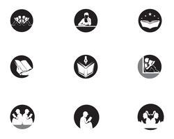 Logo de lecture de livre et symboles Silhouette Illustration noir. vecteur