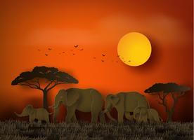Journée mondiale des éléphants vecteur