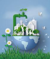 concept de journée de l'eau écologique et mondiale en famille