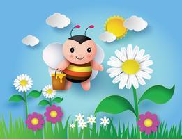 abeille qui vole avec un pot plein de miel délicieux vecteur