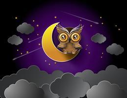 vecteur de hibou et de la lune.