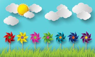 Illustration d'éoliennes soufflant par temps nuageux. vecteur