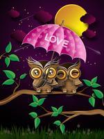 Couple de chouettes sur la branche en pleine lune.