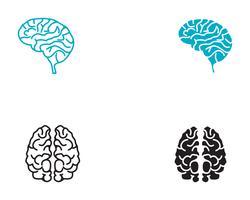 Modèle de logo de cerveau et application des icônes de symboles vecteur