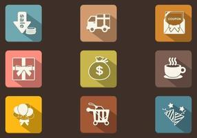Longue ombre Shopping Icon Pack Vector
