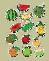 Ensemble de fruits de vecteur