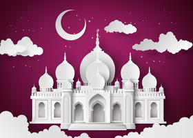 Mosquée dans la nuit lunaire vecteur