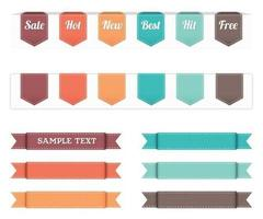 Stitched Ribbon Banner Vector Pack