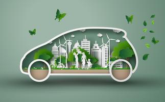 concept de voiture écologique vecteur