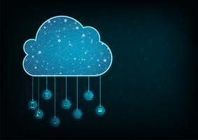 Concept informatique nuage. Fond abstrait technologie de connexion en nuage. vecteur