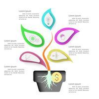 Infographie d'arbre avec une forte racine en pot et décorer avec des icônes.