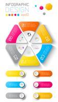 Infographie de l'entreprise sur fond de carte mondial avec 6 étiquettes sous le cercle de l'hexagone. vecteur