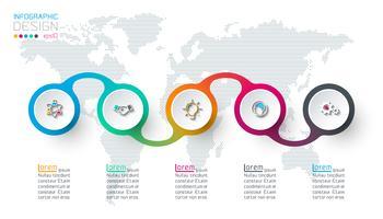 Infographie d'étiquette de cercle avec 5 étapes.