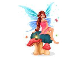 Petite fée assise sur un champignon