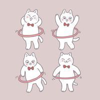 Chat mignon de bande dessinée jouant le vecteur de hula hoop.